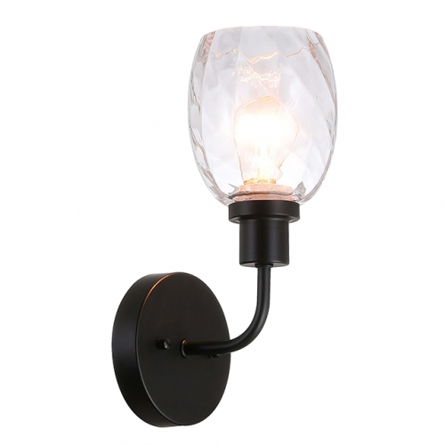 Wall Light 1 Light Wall Sconce with Clear Glass in Matte Balck Modern Bathroom Vanity Lighting for Bathroom & Kitchen  XB-W1210-1-MBK