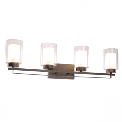 Wall Light 4 Light Bathroom Vanity Lighting with Dual Glass Shade in Dark Bronze Indoor Wall Mount Light  XB-W1195-4-DB