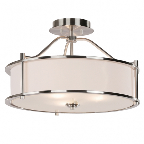 Semi Flush Mount Ceiling Light 18 inch 3 Light Close to Ceiling Light with Fabric Shade and Glass Diffuser, Brushed Nickel Drum Semi Flush Light for Dinning & Bedroom  XB-SF1199-BN
