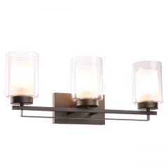 Wall Light 3 Light Bathroom Vanity Lighting with Dual Glass Shade in Dark Bronze Indoor Wall Mount Light  XB-W1195-3-DB