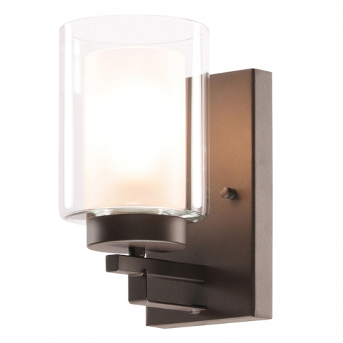 Wall Light 1 Light Bathroom Vanity Lighting with Dual Glass Shade in Dark Bronze Indoor Wall Mount Light  XB-W1195-1-DB