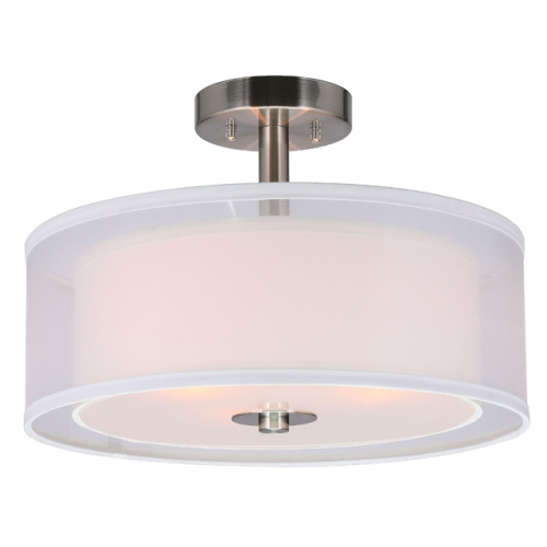 Semi Flush Mount Ceiling Light, 3 Light Close to Ceiling Light with Fabric Shade, 16 Inch Drum Semi Flush Ceiling Light in Brushed Nickel for Living Room & Bedroom XB-SF1194-BN
