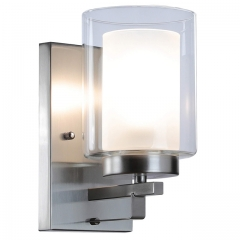 Wall Light 1 Light Bathroom Vanity Lighting with Dual Glass Shade in Brushed Nickel Indoor Modern Wall Mount Light Suitable for Bathroom & Living Room XB-W1195-1-BN