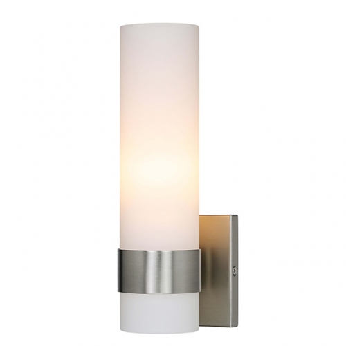 XiNBEi Lighting Wall Light ADA Wall Sconce with Opal Cylinder Glass in Brushed Nickel, Bathroom Vanity Light for Living Room & Corridor XB-W1185-BN