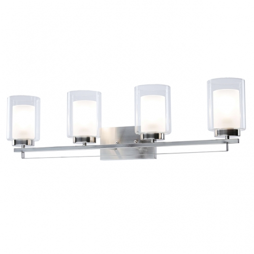 Wall Light 4 Light Bathroom Vanity Lighting with Dual Glass Shade in Brushed Nickel Indoor Wall Mount Light  XB-W1195-4-BN