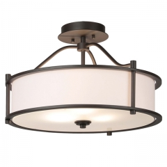Semi Flush Mount Ceiling Light 18 Inch 3 Light Close to Ceiling Light with Fabric Shade and Frost Glass Diffuser in Dark Bronze Drum Semi Flush Light  XB-SF1199-DB