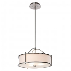 Pendant Lighting 18 inch 3 Light Drum Pendant Light with Fabric Shade and Glass Diffuser in Brushed Nickel, Classic Convertible Drum Chandelier for Living & Dinning Room  XB-P1199-BN