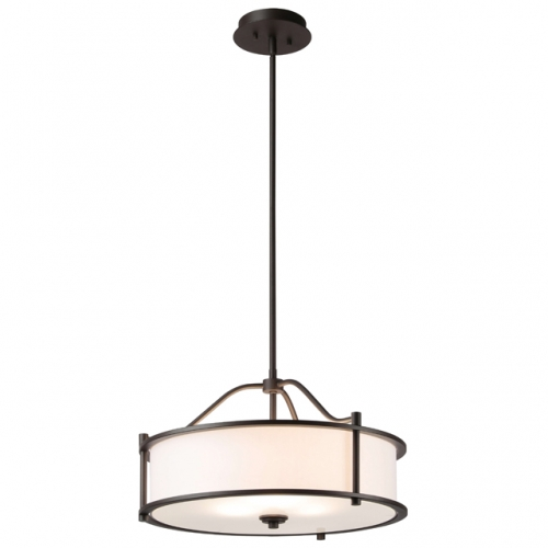 Pendant Lighting 18 inch 3 Light Drum Pendant Light with Fabric Shade and Glass Diffuser in Dark Bronze, Classic Convertible Drum Chandelier for Living & Dinning Room  XB-P1199-DB
