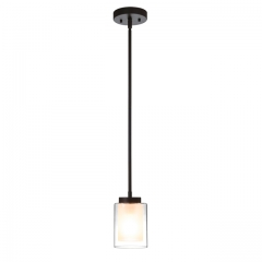 XiNBEi Lighting Pendant Lighting Modern 1 Light Mini Pendant Light with Dual Glass in Dark Bronze, Adjustable Hanging Ceiling Light for Kitchen & Living Room XB-P1195-DB