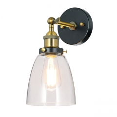 Wall Light 1 Light Industrial Vintage Style Wall Mounted Light with Clear Glass in Black and Anti-Brass Loft Sconce Lamp with Dimmable LED Filament Bulb NNL-Lighting NL-W1160-AB