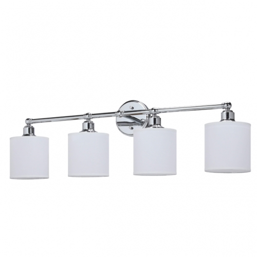 XiNBEi Lighting Wall Light 4 Light Bathroom Vanity Light with Drum Fabric Shade in Chrome, Modern Wall Mounted Sconce Light for Bathroom Bedroom & Living Room XB-W1214-4-CH