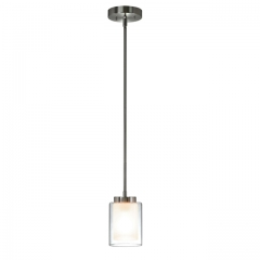 XiNBEi Lighting Pendant Lighting Modern 1 Light Mini Pendant Light with Dual Glass in Brushed Nickel, Adjustable Hanging Ceiling Light for Kitchen & Living Room XB-P1195-BN