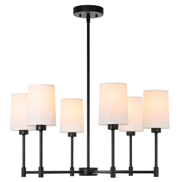 XiNBEi Lighting Chandelier Lights 6 Light Adjustable Pendant Chandelier with Fabric Shade in Matte Black, Modern Hanging Pendant Lighting for Living & Dinning Room XB-C1215-6-MBK