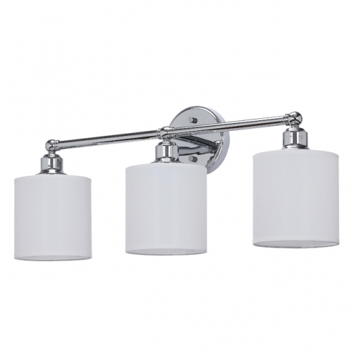 XiNBEi Lighting Wall Light 3 Light Bathroom Vanity Light with Drum Fabric Shade in Chrome, Modern Wall Mounted Sconce Light for Bathroom Bedroom & Living Room XB-W1214-3-CH
