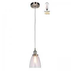 Pendant Light 1 Light Mini Pendant Light with Glass, Modern Hanging Ceiling Light Fitting with LED Bulb in Brushed Nickel for Loft, Bar and Kitchen XiNBEi Lighting XB-P160-BN