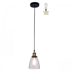 Pendant Light 1 Light Mini Pendant Light with Glass, Industrial Hanging Light Fitting with LED Bulb in Anti Brass & Matte Black for Loft, Bar and Kitchen XiNBEi Lighting XB-P160-AB