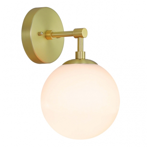 Wall Light 1 Light Vintage Wall Sconce with White Globe Glass in Satin Brass, Bathroom Vanity Lighting Suitable for Living Room & Hallway  XB-W1211-SB