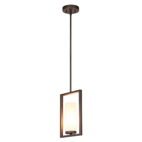 XiNBEi Lighting Pendant Light 1 Light Mini Pendant Lighting with Acrylic Shade, Modern Adjustable Kitchen Hanging Ceiling Light with GU24 Bulb Dark Bronze Finish XB-P1143-DB