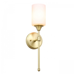 XiNBEi Lighting Wall Sconce, Bathroom Vanity Light with Glass, Classic Wall Fixture Satin Brass Finish for Bathroom XB-W1216-SB