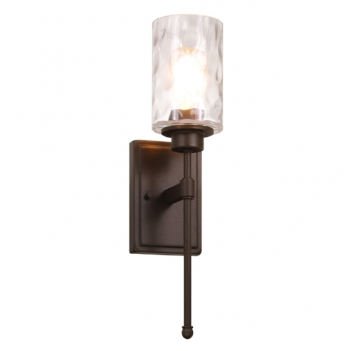 Wall Light 1 Light Wall Sconce with Glass, Classic Bathroom Vanity Light Dark Bronze Finish for Bedroom & Living Room XB-W1227-DB