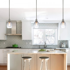 Pendant Light, Modern 1 Light Mini Pendant Hanging Light with Clear Glass, Adjustable Kitchen Hanging Ceiling Light Brushed Nickel Finish XB-P1210-BN