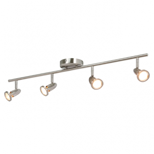 Track Lighting, 4 Light Spotlight Bar, Modern Straight Ceiling Track Light Brushed Nickel for Kitchen and Dining Room XB-C224-4-BN