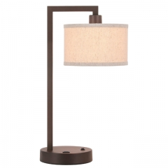 Table Lamp Desk Lamp with USB and Fabric Shade, Modern End Table Lamp Dark Bronze Finish for Bedroom Living Room & Office XB-TL1231-DB