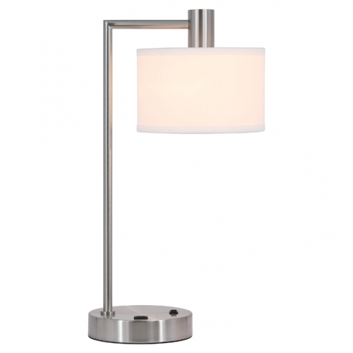 Table Lamp USB Desk Lamp with Fabric Shade, Modern Bedside Iron Lamp Brushed Nickel Finish for Bedroom Living Room & Office XB-TL1230-BN