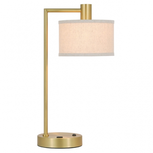 XiNBEi Lighting Table Lamp USB Desk Lamp with Fabric Shade, Modern Bedside Iron Lamp Satin Brass Finish for Bedroom Living Room & Office XB-TL1230-SB