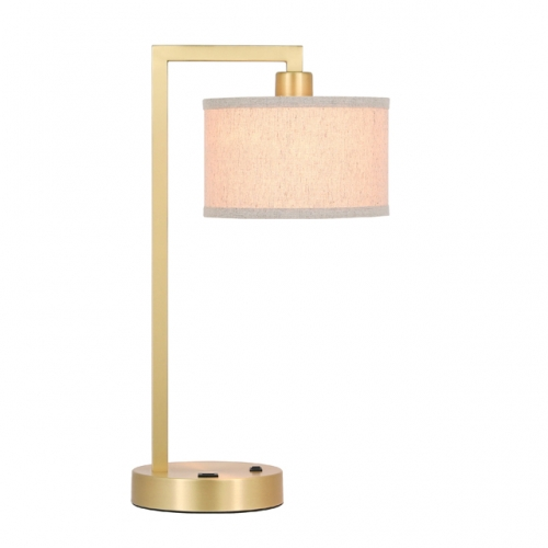 XiNBEi Lighting Table Lamp Desk Lamp with USB and Fabric Shade, Modern End Table Lamp Satin Brass Finish for Bedroom Living Room & Office XB-TL1231-SB