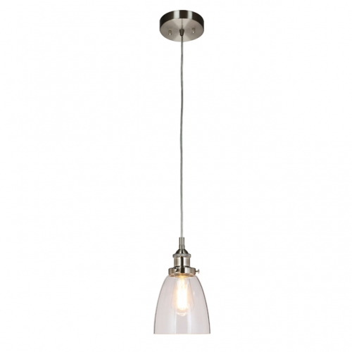 Pendant Light 1 Light Mini Pendant Light with Glass, Modern Hanging Ceiling Light Fitting Brushed Nickel for Loft, Bar and Kitchen XB-P160