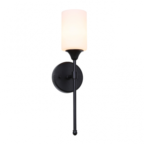 Wall Light 1 Light Wall Sconce with Glass in Matte Black, Classic Bath Sconce Vanity for Bathroom Bedroom & Living Room XB-W1216-MBK