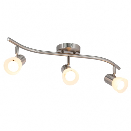XiNBEi Lighting Track Lighting, 3 Light Wave Track Light with Glass Modern Ceiling Light Bar Brushed Nickel for Kitchen & Dining Room XB-TR1238-3-BN