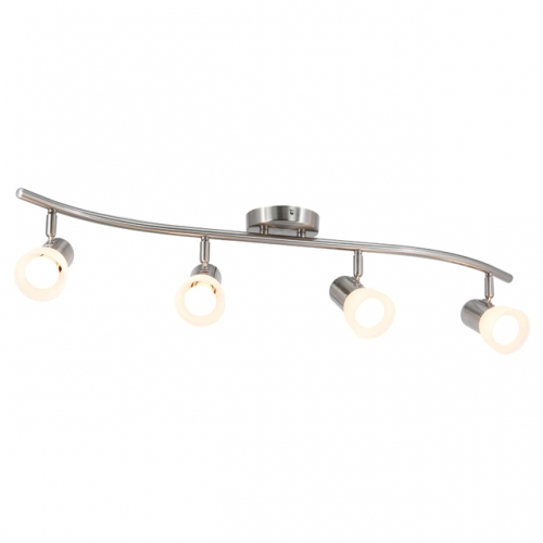 XiNBEi Lighting Track Lighting, 4 Light S-Shaped Track Light Bar with Glass, Modern Kitchen Ceiling Light Bar Brushed Nickel XB-TR1238-4-BN