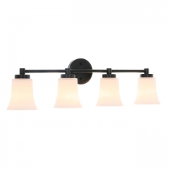 XiNBEi Lighting Vanity Light, Modern 4 Light Bath Bar Light, Black Bathroom Wall Light with Glass XB-W1235-4-MB