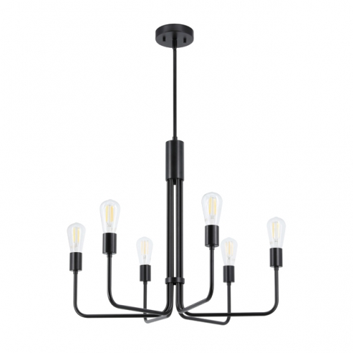 Chandeliers, 6 Light Black Vintage Chandelier Pendant Ceiling Light for Living & Dining Room XB-C1234-6-MBK
