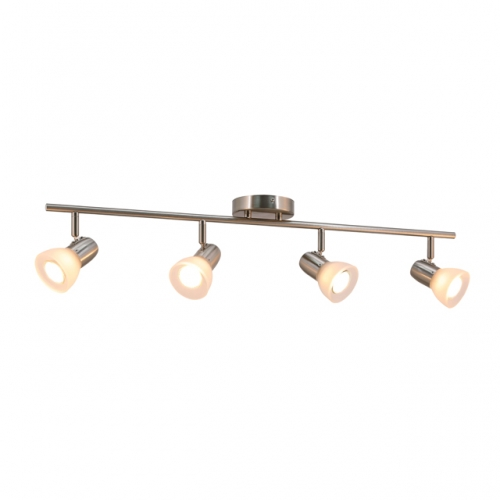 XiNBEi Lighting Track Light, Modern Fixed Rail Lighting with Glass, 4 Light Kitchen Ceiling Light Brushed Nickel XB-TR1237-4-BN