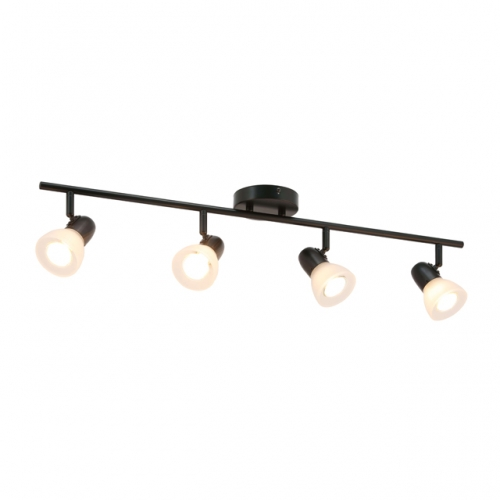 XiNBEi Lighting Track Light, 4 Light Track Bar Lighting with Glass, Modern Black Kitchen Ceiling Light XB-TR1237-4-MB