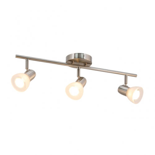 XiNBEi Lighting Track Light, 3 Light Kitchen Ceiling Light with Glass, Modern Fixed Rail Lighting Brushed Nickel XB-TR1237-3-BN
