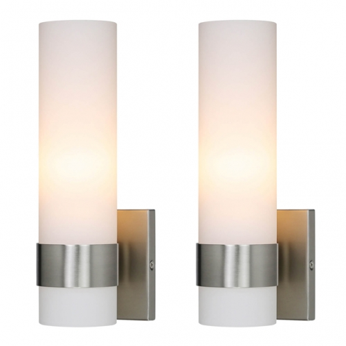 Wall Light, 1 Light Bathroom Vanity Light, ADA Brushed Nickel Wall Sconce with Tube Glass 2Pack XB-W1185-2BN26