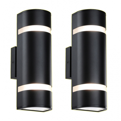 Outdoor Wall Light, Modern Wall Sconce Black Water Proof D Shaped Wall Mount Light Suitable for Garden & Patio 2 Pack XB-W1112-2BK