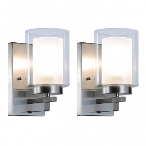 Wall Light 1 Light Bathroom Vanity Light with Dual Glass, Indoor Modern Brushed Nickel Wall Mounted Light 2 Pack XB-W1195-1-2BN