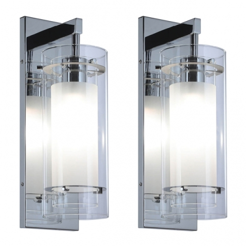 Wall Sconce 1 Light Bathroom Vanity Wall Light, Contemporary Chrome Wall Mount Light with Glass 2 Pack XB-W1159-2CH