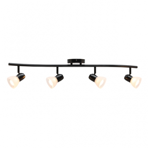 XiNBEi Lighting Track Lighting, 4 Light Modern Black Curved Kitchen Track Ceiling Light Fixtures XB-TR1223-4-MBK