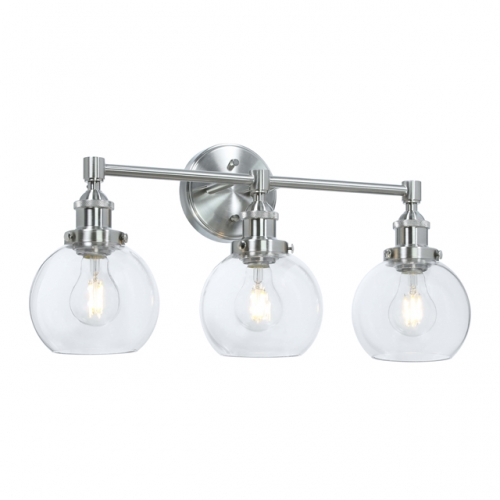 XiNBEi Lighting Vanity Light, 3 Light Vintage Wall Light with Glass, Industrial Wall Mounted Light Brushed Nickel for Bathroom Kitchen Living Room XB-W1256-3-BN