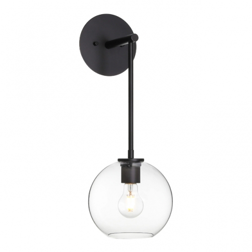 XiNBEi Lighting Wall Sconce, Retro 1 Light Globe Glass Wall Mounted Light Matte Black Finish for Bathroom Bedside & Living Room XB-W1263-MB